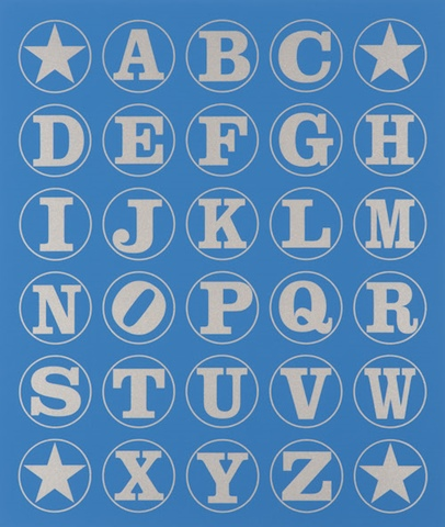 Alphabet Wall (Silver on Blue)